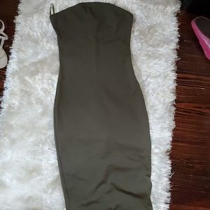 NW 2B Bebe Olive Form Fitting Midi Dress Sz Med.